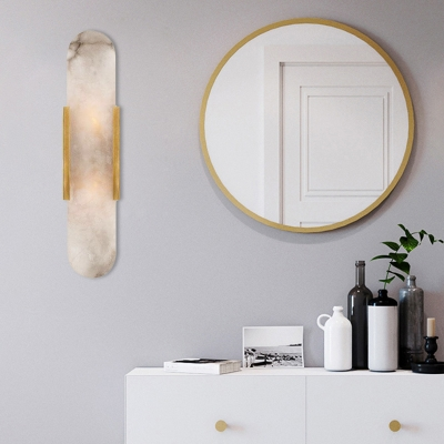 Linear Marble Wall Sconce Colonial 2 Bulbs Dining Room Flush Mount Wall Light in Gold/Black