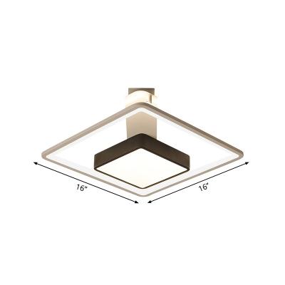 Modernism Square Ceiling Light Warm/White Light Metal Led Flush Mount Lighting in Black, 16