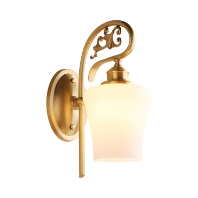 Tulip Shape Living Room Wall Lamp Colonialism Milk Glass 1 Head Brass Wall Mounted Light