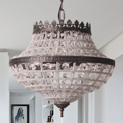 Urn Hanging Ceiling Light Rustic Industrial Clear Crystal Bead 2 Lights Pendant Lamp in Bronze, HL563921