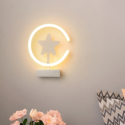 White/Gold Circle Flush Mount Wall Sconce with Star Pattern Cartoon Acrylic LED Wall Lighting, Warm/White Light
