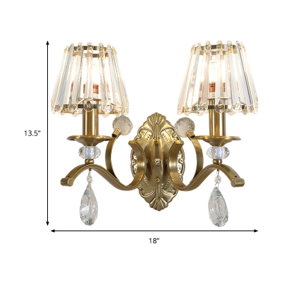 1/2 Heads Cone Wall Sconce Light Traditional Vintage Wall Lighting in Brass for Living Room