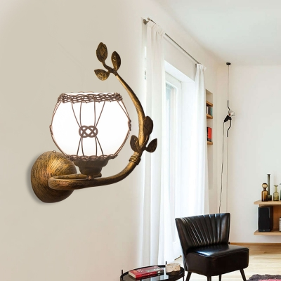 1 Light Opal Glass Wall Lamp Farmhouse Rust Bubble Dining Room Sconce Light Fixture with Leaves Deco