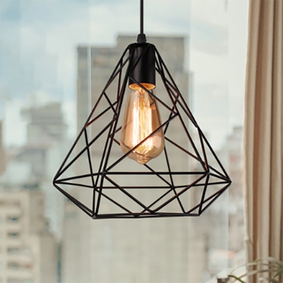 Black Diamond Cage Pendant Lighting Industrial Style 1 Bulb Metallic Ceiling Lamp for Kitchen, HL571752