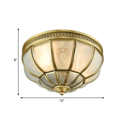 Brass 2/3 Heads Flush Mount Lamp Colonialism Sandblasted Glass Bowl Ceiling Fixture for Bedroom, 12