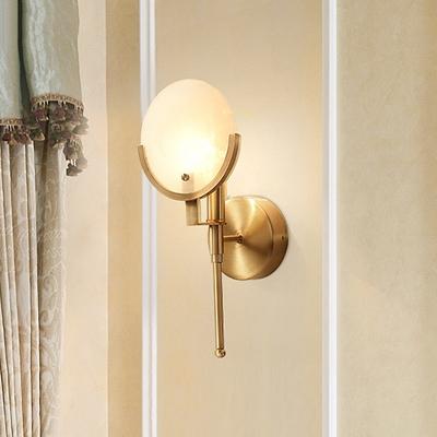 Brass Elliptical Wall Lamp Colonialist Cream Glass 1 Head Living Room Sconce Light Fixture