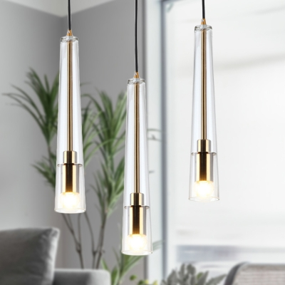 Clear Glass Hanging Light Kit Contemporary 1 Head Gold Pendant Lighting Fixture for Dining Room
