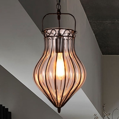 Clear Glass Teardrop Hanging Pendant Light Industrial Style Single Pendant Lighting in Black for Restaurant