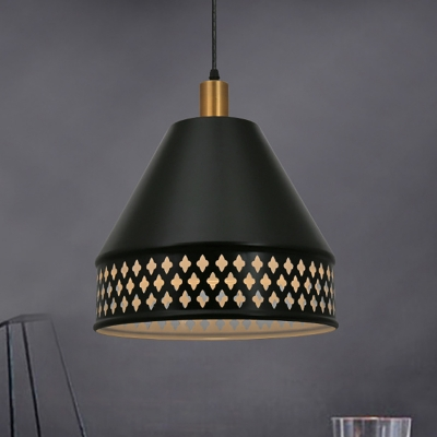 Cone Shade Pendant Light Farmhouse Style Metal 1 Light Black Hanging Ceiling Light with Hollow Out Design, HL566126