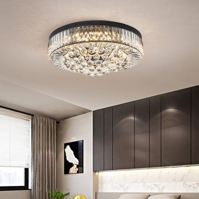 Drum Crystal Ball Flush Mount Light Simple Black LED Ceiling Lamp in 3 Color Light/Remote Control Stepless Dimming
