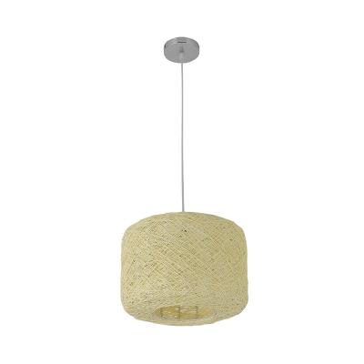 Rattan Cylinder Pendant Lamp 1 Light Handmade Suspension Light in Blue/Beige, 12