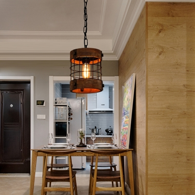 Traditional Cylinder Hanging Ceiling Light 1 Light Wood Pendant Lamp in Brown for Dining Room
