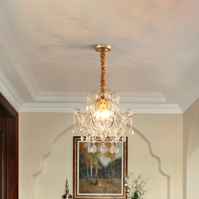 Transitional Bent Armed Pendant Chandelier Metal 3-Light Hallway Ceiling Light with Crystal Draping in Gold