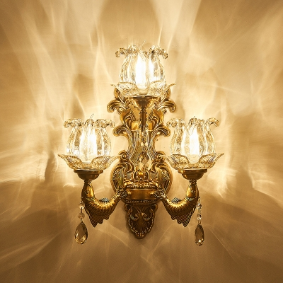 Vintage Flower Wall Light Fixture Clear Glass 3 Heads Living Room Sconce Light in Brass