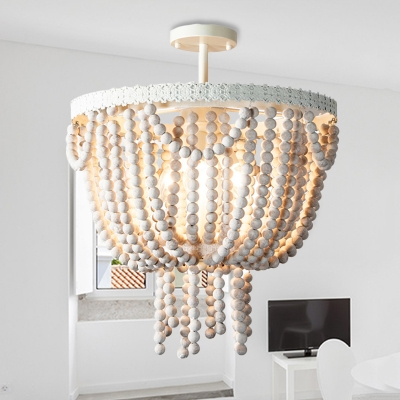 Wooden Beaded Bowl Shape Ceiling Pendant French Style 4 Lights Living Room Chandelier Lamp in White