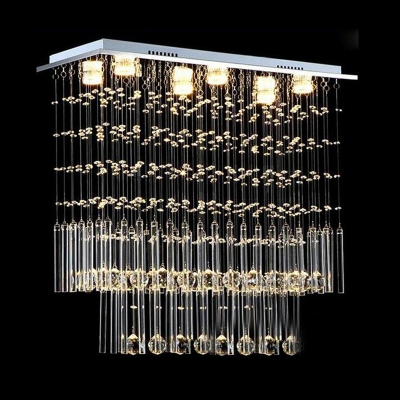 6 Bulbs 2-Tier Flush Light Modernist Crystal Ceiling Mount Light Fxiture in Nickel for Living Room