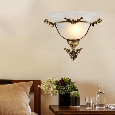 Bell Living Room Wall Sconce Traditional Frosted Glass 1 Bulb Brass Flush Mount Wall Light