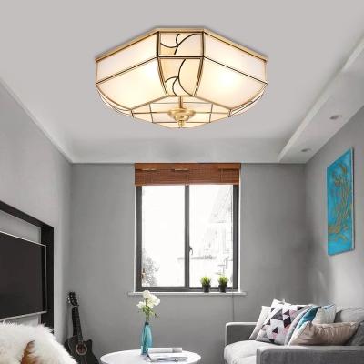 Bowl Bedroom Ceiling Mount Colonialist White Glass 3 Heads Brass Flush Light Fixture