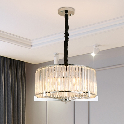 Clear Crystal Block Drum Chandelier Lamp Traditional 5/6 ...