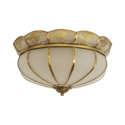 Colonialism Bowl Ceiling Mount Light Fixture 5 Bulbs Milk Glass Flush Mount Chandelier in Brass for Bedroom