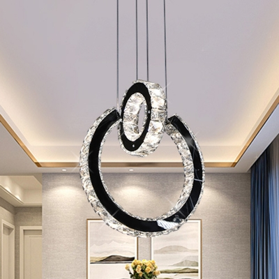Crystal Round Pendant Ceiling Light Contemporary LED Black Down Lighting for Living Room HL577401 фото