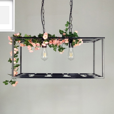 Rectangle Cage Hanging Lamp Vintage Metallic 2 Bulbs Ceiling Chandelier with Flower Decoration in Black