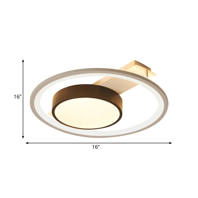 Simple Drum Flush Lamp with Halo Ring Black and White Metal Led Flush Ceiling Light in Warm/White, 16