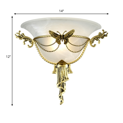 Wide Flared White Glass Wall Light Colonial 1 Head Flush Mount Wall Sconce with Brass Metal Butterfly for Living Room