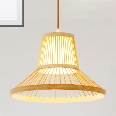 Wooden Hat Ceiling Hanging Light Modern Asian Weave Pendant Lighting for Restaurant with 39
