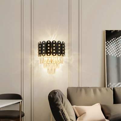 3 Lights 3 Tiers Wall Mounted Light Clear Faceted Crystal Contemporary Wall Lighting in Black