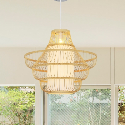 Asian Style Handwoven Suspension Light Beige Bamboo 16