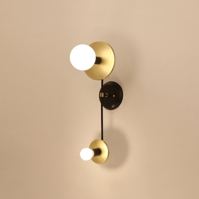 Black and Gold Balance Scale Wall Sconce Modernist 2 Lights Milky Glass Bedside Wall Mounted Lamp
