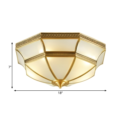 Brass Bowl Flush Mount Lighting Fixture Colonialist Opal Glass 3/4 Bulbs Bedroom Ceiling Chandelier, 14