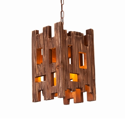 Country Style Rectangle Hanging Lamp Wood 1 Light Restaurant Pendant Light Fixture with Adjustable Chain in Brown