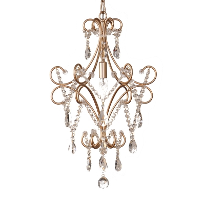 Curvy Armed Ceiling Suspension Lamp French Style Metal 1-Light Golden Hanging Ceiling Pendant with Crystal Draping
