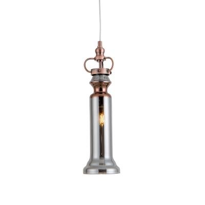 Cylinder Hanging Pendant Light Modern Smoke Gray/Cognac Glass 1 Head Bedroom Suspension Light
