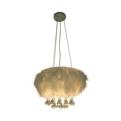 Minimal Round Fluff Chandelier Lamp Single Light White Pendant Lighting with Crystal Droplets
