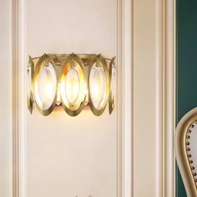 Oval Beveled Crystal Wall Lamp Postmodern 2 Lights Gold Wall Sconce Light for Living Room