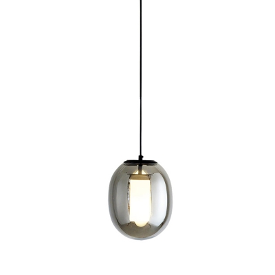 Oval Pendant Light Fixture Modern Black Glass 7