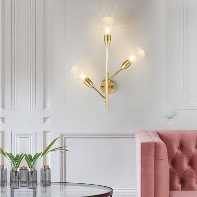 Prismatic Orb Glass Sconce Lamp Modernist 3 Bulbs Brass/Gold Wall Mount Light Fixture