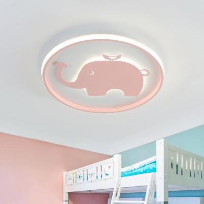 Ring Flush Lamp with Blue/Pink Horse/Elephant Design Metal Led Cartoon Ceiling Light for Children