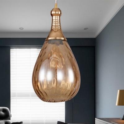 Vintage Teardrop Pendant Lighting 1 Bulb Height Adjustable Amber/Clear/Smoke Water Glass Shade Hanging Ceiling Light