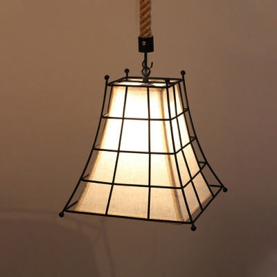 Wire Frame Flared Hanging Lamp with Fabric Shade 1 Light Rustic Suspension Light in Black, HL564383