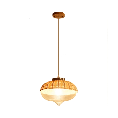 Woven Hanging Ceiling Light with Clear Glass Shade 1 Light Asian Pendant Lighting in Wood