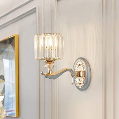 1/2 Lights Cylinder Sconce Light with Clear Crystal Shade Modern Flush Mount Wall Sconce in Silver Finish, HL565294