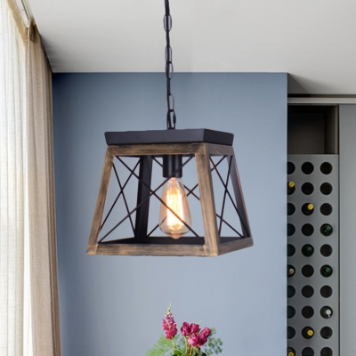Black Trapezoid Pendant Ceiling Light Traditional Wood 1 Light Dining Room Hanging Lamp with Cage