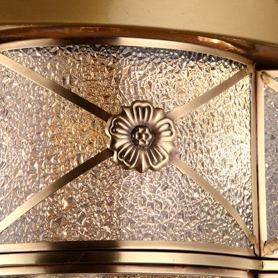 Brass 3/4 Heads Flush Mount Lamp Colonialism Bubble Glass Scalloped Ceiling Fixture for Living Room, 14