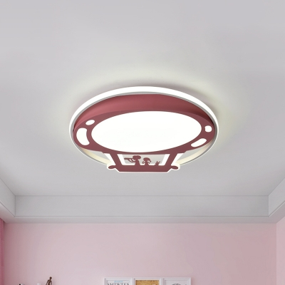 Cartoon Hot Air Balloon Flush Mount Blue/Pink Metal Shade Led Flush Ceiling Light with Frosted Diffuser