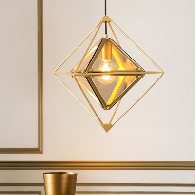 Colonial Diamond Shape Drop Pendant 1-Light Black/Gold/Amber Glass Ceiling Light Fixture with Exterior Iron Frame