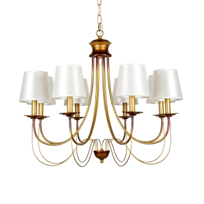 Conical Fabric Hanging Chandelier Traditional 3/5/6 Lights Brass Finish Ceiling Light